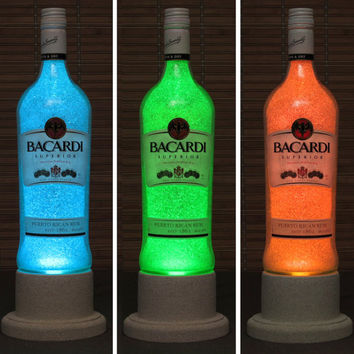 Bacardi Rum Color Changing LED Remote Controlled Eco Friendly rgb LED Bottle Lamp/Bar Light / Intense Sparkle-Bodacious Bottles-