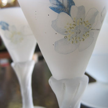 White Satin Glass with Blue Floral Design Cordial Decanter with Matching Glasses