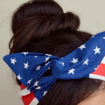 American flag headband, US flag Dolly bow head bands, American Flag head band, hair bow
