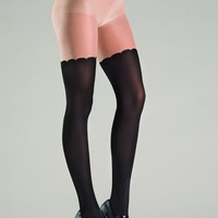 Black Two Tone Spandex Pantyhose