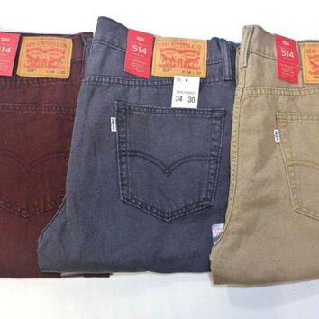 Men Levis 514 Straight Leg Fit 100% Cotton Jeans (Burgundy - Khaki - Charcoal)