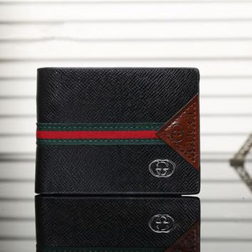 """Gucci"" Men Purse Simple Classic Multicolor Stripe Stitching Short Section Multi-card Bit Fold Wallet"