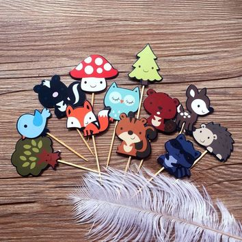 3 pack 12Pcs Cute Woodland Animals Decorative Cupcake Picks Dessert Cake Decoration Topper for Wedding Birthday Party
