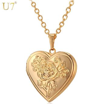 Frame Memory Locket Pendant Necklace Silver/Gold Color Romantic Love Heart Vintage Jewelry Women Gift