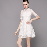 Floral Mesh Short Sleeve Mini A-Line Dress with Pearl Decor