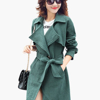 Notched Collar Waist Tie Trench Coat