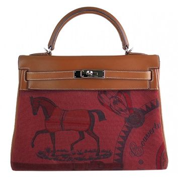 Hermes Kelly 32 Barenia Amazon Rouge Horse Print Bag - Rare