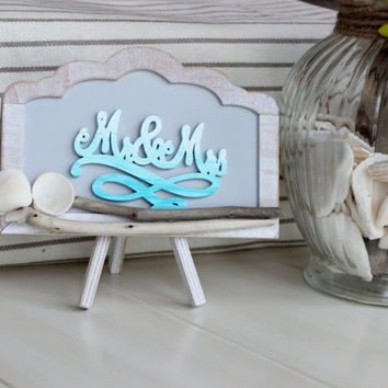 Mr & Mrs Beach Wedding Decoration , Nautical Reception Decor , Beach chalkboard