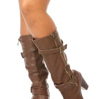 Brown Faux Leather Calf Length Chunky Rider Boots
