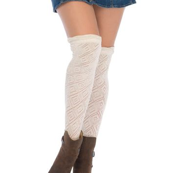 Crocheted over the knee socks with scalloped ruffle top