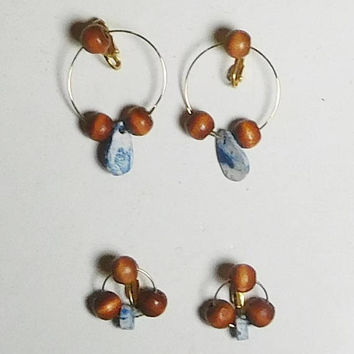 Lightweight Beaded Clip On Hoop Earrings, Wide, Wooden Beads, Ceramic Fossil Beads, Hippie Jewelry, Never Worn, Vintage 80s, Costume Jewelry