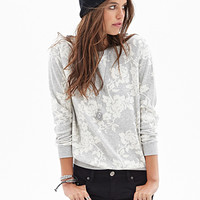 FOREVER 21 Heathered Rose Sweatshirt Heather Grey/Cream Medium