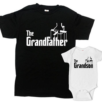 Matching Family Outfits Grandpa And Grandson Shirts Matching T Shirts Fathers Day Present The Grandfather The Grandson - SA1074-1076