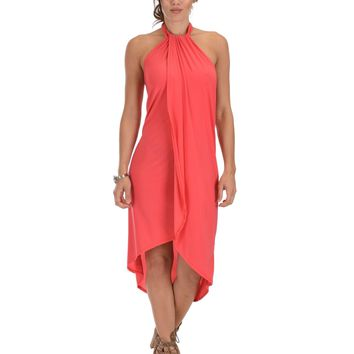 Lyss Loo Wrap Star Halter Coral Midi Wrap Dress