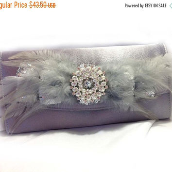 wedding clutch, Bridal clutch, feather evening bag, Silver clutch,Vintage inspired pearl clutch, Bridal evening bag