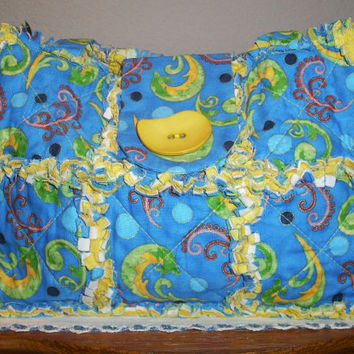 Rag Quilt Purse - Blue Print Fabric Bag With Green Yellow and Coral Swirls