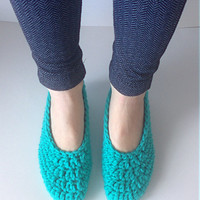 Women's Crochet Teal Ballet Slippers, knit slippers, crochet flats, crochet house shoes, crochet ballet flats