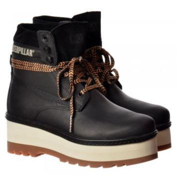 Cat High Hopes Lace Up Ankle Combat Boot - Black, Honey Reset, Whitecap - Cat from Onlineshoe UK