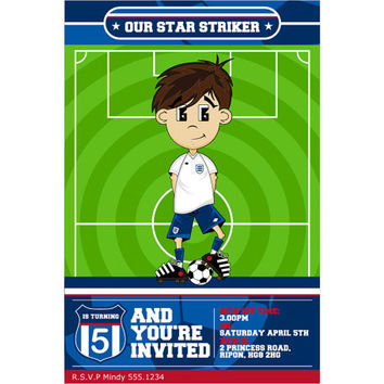 Cute Cartoon Soccer Football Boy Custom Birthday Party Invitation, Digital Printable Sports Invite