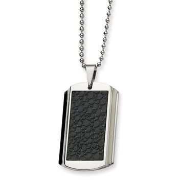 Men's Stainless Steel and Stingray Texture Dog Tag Necklace