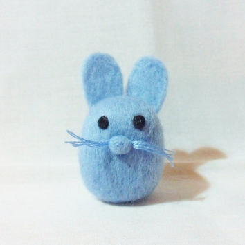 Needle Felted Rabbit -  miniature blue bunny rabbit figure - 100%  wool - merino wool felt rabbit
