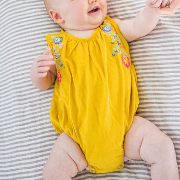 Mustard Floral Corduroy Baby Onepiece