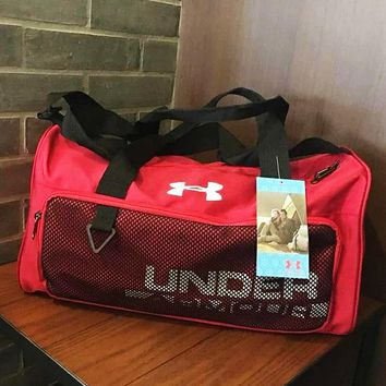 Andema U large capacity menAndema Women Men outdoor travel single room bag hand collar bag sports training gym bag mesh  Red