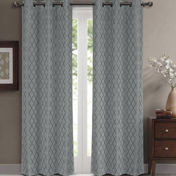 Gray 84x84 Willow Blackout Window Panels (Set of 2 )