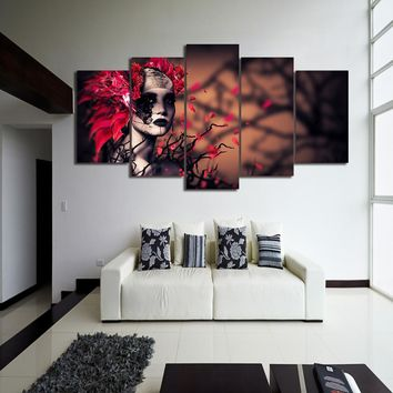 Girl Abstract Graffiti 5 Panel wall art on Canvas Pink Painting style