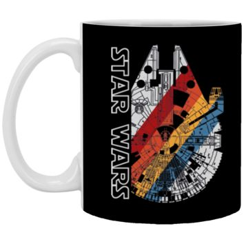 Star Wars The Millennium Falcon Wears Retro Stripes T-Shirt XP8434 11 oz. White Mug