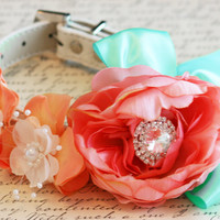 Floral Peonies Blush, Peach and Mint Floral Dog Collar Pet Spring wedding