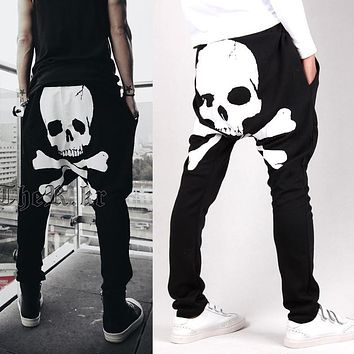New Mens Joggers Harem Pants Men Dance Jogger Baggy Hip Hop Trousers Fashion Skeleton Print Drop Crotch Sweatpants Skater Pants