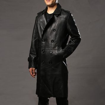 2017 Fashion Long Genuine leather jacket men male navy fourposter long natural sheepskin trench mens male commercial coat cheap