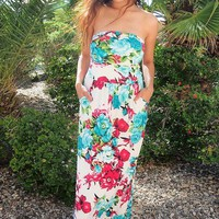 Island Life Ivory Tropical Floral Print Strapless Maxi Dress