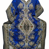 Mogul Interior Women's Kaftan Blue Dashiki Print Maxi Loungewear Caftan One Size: Amazon.ca: Clothing & Accessories