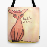 hello deer Tote Bag by helendeer