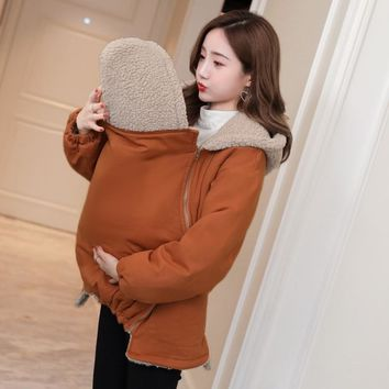 Trendy 7003# Winter Maternity Outerwear Coat Baby Carrier Kangaroo Jacket Clothes for Pregnant Woman Thicken Berber Fleece Pregnancy AT_94_13