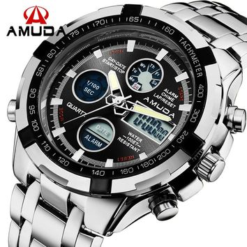 Luxury Brand Fashion Digital Casual Watch Men Silver Mens Quartz Watch Military Army Male Wrist Watches relogio masculino