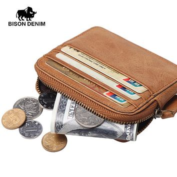 Genuine Leather Coin Wallets Male Vintage Credit Card Wallets Fashion Coin Purse Small Leather Men Wallet