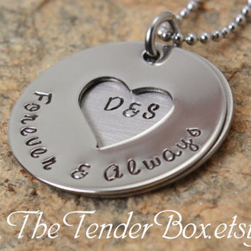 Forever & Always Couples heart necklace wedding necklace personalized