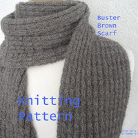 Buster Brown Scarf Easy Knit Knitting Pattern, Men & Women, Garter Knit Ribbed, Sport Weight Alpaca