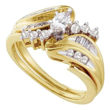 14kt Yellow Gold Women's Marquise Diamond Solitaire Bridal Wedding Engagement Ring Band Set 1/2 Cttw - FREE Shipping (US/CAN)