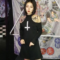 2018 New Arrival Women Harajuku Punk Vintage Gothic Turtleneck Sexy Off Shoulder Cross Print Long Sleeve Black Dress