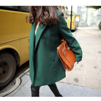 Korean Institute of wind double-breasted wool coat