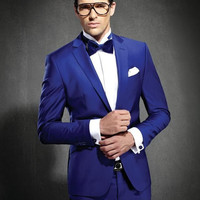 2016 Hot sale Custom made Royal Blue Groom Tuxedos Notched Lapel Men's Wedding Suits Slim Fit Two Button Groomsmen Suit
