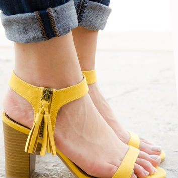 Suede Ankle Cuff Tassel Chunky Heel Sandal – Chica's Shoetique