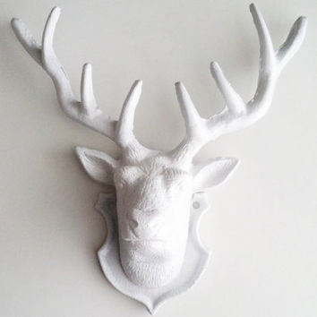 White Faux Taxidermy Deer Head Wall Mount Modern Rustic Trendy Home Decor Antlers Jewelry Organizer Woodland Nursery Christmas Gift