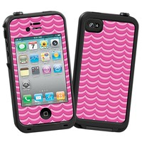 Pink Waves Skin  for the iPhone 4/4S Lifeproof Case by skinzy.com