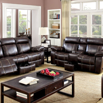 Furniture of america CM6788 2 pc chancellor rustic brown breathable leatherette sofa and love seat with recliner ends