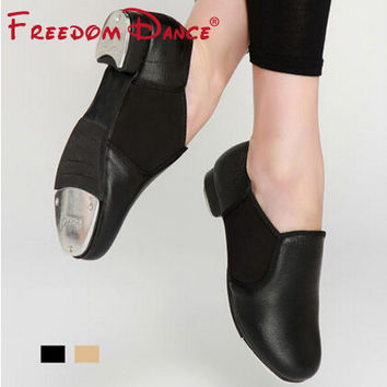 Professional Childred Tap Dance Shoes Elastic Band Genuine Leather Slip on Clogging Tap Dancing Shoes for Teenagers Students